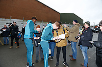 (L-R) Tammy Abraham of Swansea City and Sam Clucas of Swansea City sign autographs during The Emirates FA Cup match between Notts County and Swansea City at Meadow Lane, Nottingham, England, UK. Saturday 27 January 2018