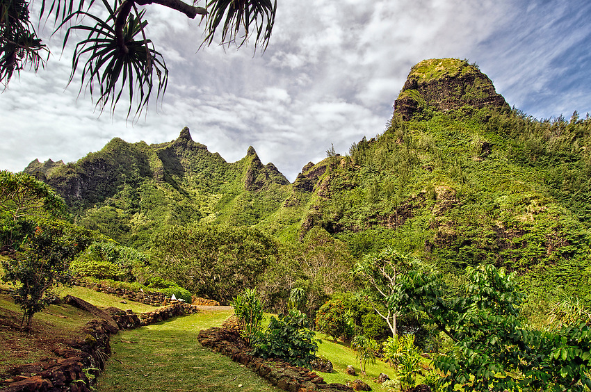 Makana Mountain and Ridge, commonly known as Bali Hai, seen at the Limahuli Garden, Haena, Kauai, Hawaii