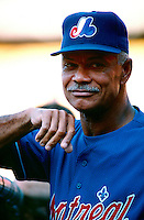 Montreal Expos Manager Felipe Alou during a game at Dodger Stadium in Los Angeles, California during the 1997 season.(Larry Goren/Four Seam Images)