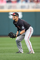 Texas Tech Red Raiders second baseman Brian Klein (5) on defense during Game 9 of the NCAA College World Series against the Florida State Seminoles on June 19, 2019 at TD Ameritrade Park in Omaha, Nebraska. Texas Tech defeated Florida State State 4-1. (Andrew Woolley/Four Seam Images)