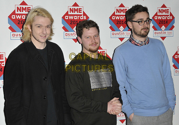 LONDON, ENGLAND - FEBRUARY 26: Alt-J ( Joe Newman, Thom Green &amp; Gus Unger Hamilton ) attend the NME Awards 2014, O2 Academy Brixton, February 26, 2014 in London, England, UK.<br /> CAP/CAN<br /> &copy;Can Nguyen/Capital Pictures