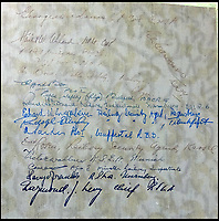 BNPS.co.uk (01202 558833)<br /> Pic: DavidDuggleby/BNPS<br /> <br /> The presentation album is signed by work colleagues.<br /> <br /> Amazing photo album reveals the close knit alpine community where Hitler and his henchmen worked and played.<br /> <br /> The amazing album was brought back to Britain by a British administrator of the railways in post war Germany reveals the cosy living arrangements of the high ranking Nazi's of Hitlers Third Reich.<br /> <br /> It shows the homes of Hitler, Martin Boorman and Hermann Goering in tiny Berchtesgaden in Bavaria, and also the infamous Eagles Nest on a mountain top nearby where the evil dictator would dream his dreams whilst taking in the stunning vista.<br /> <br /> The unique album is being sold by David Duggleby auctioneers in Scarborough on the 7th October.