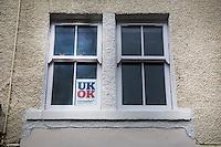 loghi della campagna elettorale per il referendum scozzese sull'indipendenza, inneggianti al no e all'unione UK