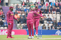 Sheldon Cottrell (West Indies) celebrates the wicket of Aiden Markram  (South Africa) during South Africa vs West Indies, ICC World Cup Cricket at the Hampshire Bowl on 10th June 2019