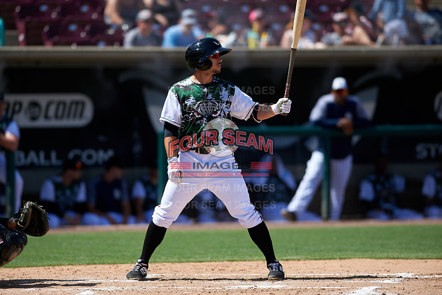 Lake Elsinore Storm left fielder Robbie Podorsky (3) during a California League game against the Inland Empire 66ers on April 14, 2019 at The Diamond in Lake Elsinore, California. Lake Elsinore defeated Inland Empire 5-3. (Zachary Lucy/Four Seam Images)