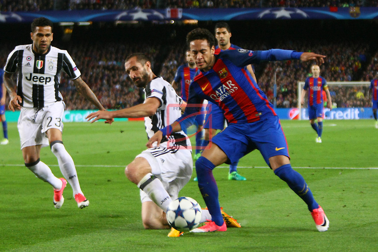 UEFA Champions League 2016/2017.<br /> Quarter-finals 2nd leg.<br /> FC Barcelona vs Juventus Football Club: 0-0.<br /> Giorgio Chiellini vs Neymar Jr.