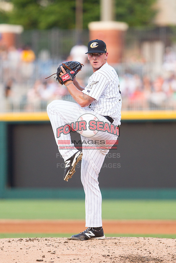 Charlotte Knights starting pitcher Chris Beck (16) in action against the Louisville Bats at BB&T Ballpark on June 26, 2014 in Charlotte, North Carolina.  The Bats defeated the Knights 6-4.  (Brian Westerholt/Four Seam Images)