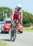 SITTARD, NETHERLANDS - AUGUST 16: Vladimir Isaichev of Russia riding for Katusha Team competes during stage 5 of the Eneco Tour 2013, a 13km individual time trial from Sittard to Geleen, on August 16, 2013 in Sittard, Netherlands. (Photo by Dirk Markgraf/www.265-images.com)
