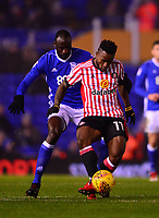 Kazenga Lualua of Sunderland during the Sky Bet Championship match between Birmingham City and Sunderland at St Andrews, Birmingham, England on 30 January 2018. Photo by Bradley Collyer / PRiME Media Images.