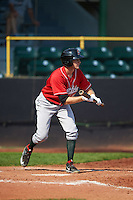 Great Lakes Loons outfielder Logan Landon (9) squares to bunt during a game against the Clinton LumberKings on August 16, 2015 at Ashford University Field in Clinton, Iowa.  Great Lakes defeated Clinton 3-2 in ten innings.  (Mike Janes/Four Seam Images)