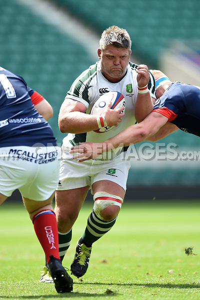 Chris Rowland of Dorset & Wilts takes on the Cumbria defence. Bill Beaumont County Championship Division 3 Final between Cumbria and Dorset & Wilts on June 8, 2019 at Twickenham Stadium in London, England. Photo by: Patrick Khachfe / Onside Images