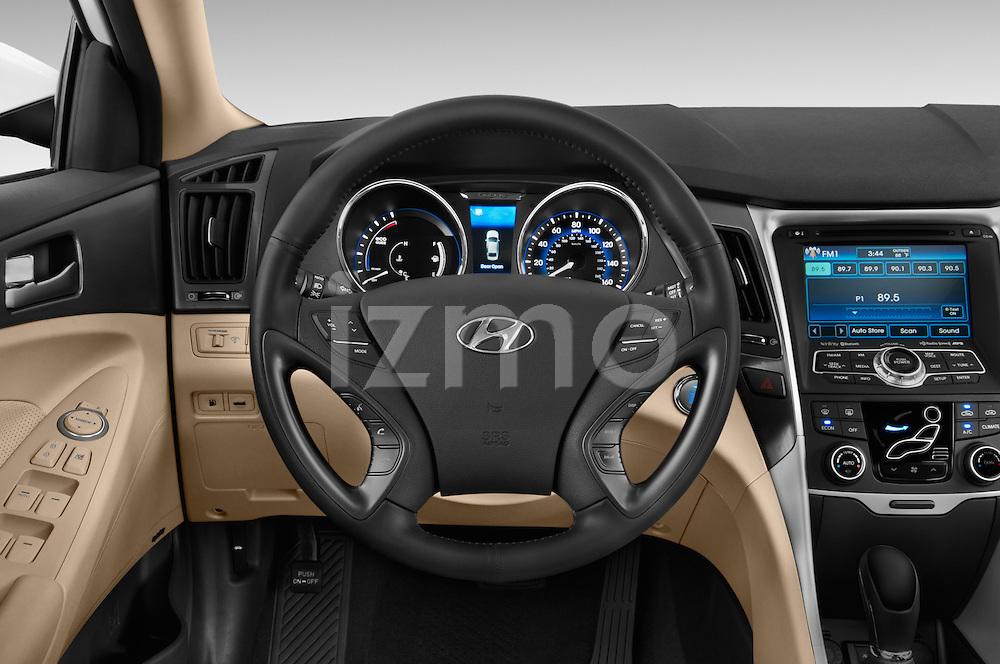 Car pictures of steering wheel view of a 2015 Hyundai Sonata Hybrid Limited 4 Door Sedan Steering Wheel