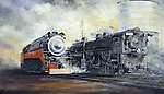 "Southern Pacific Railroad's beautiful Daylight Express comes past an ugly working cab forward oil burning locomotive. Oil on canvas, 18"" x 27""."
