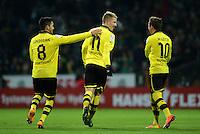 FUSSBALL   1. BUNDESLIGA   SAISON 2012/2013    18. SPIELTAG SV Werder Bremen - Borussia Dortmund                   19.01.2013 Ilkay Guendogan, Marco Reus und Mario Goetze (v.l., alle Dortmund) jubeln nach dem 0:1