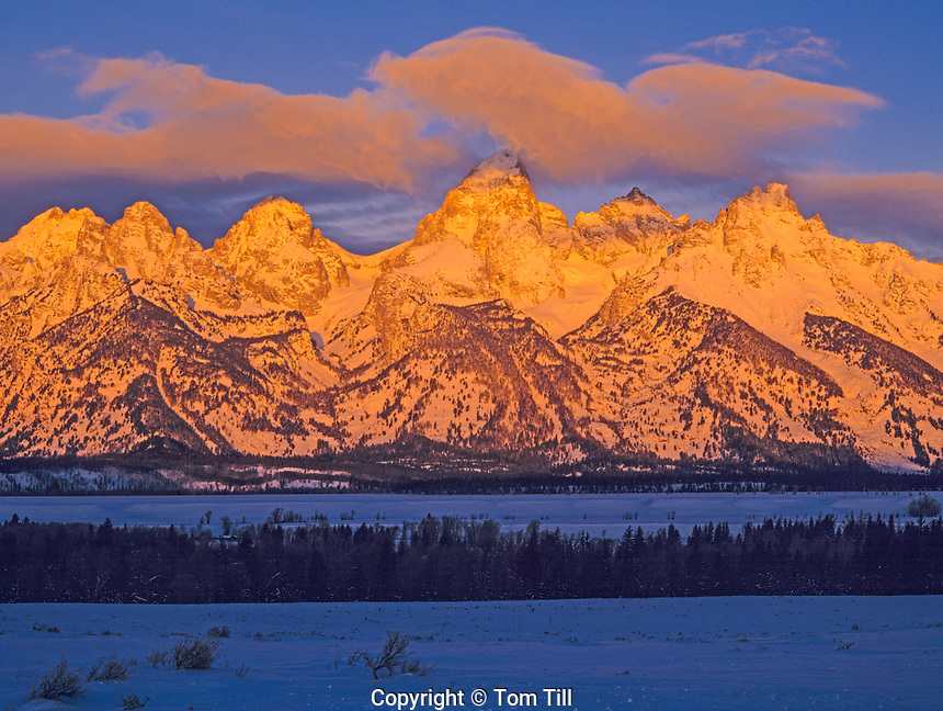 Winter Dawn at The Grand Tetons, Grand Teton National Park, Wyoming