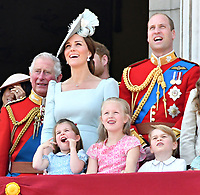 Prince Charles, Meghan Duchess of Sussex, Prince Harry, Catherine Duchess of Cambridge, Prince William, Princess Charlotte, Prince George on the balcony at Buckingham Palace<br /> Celebration marking The Queen's official birthday, Trooping The Colour, The Queen's official birthday, Buckingham Palace, London, England UK on June 09, 2018.<br /> CAP/JOR<br /> &copy;JOR/Capital Pictures