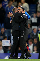 Huddersfield Town's Assistant Head Coach, Christoph Buhler celebrates with Manager, David Wagner at the final whistle during Chelsea vs Huddersfield Town, Premier League Football at Stamford Bridge on 9th May 2018