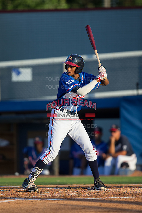 Isranel Wilson (9) of the Danville Braves at bat against the Kingsport Mets at American Legion Post 325 Field on July 9, 2016 in Danville, Virginia.  The Mets defeated the Braves 10-8.  (Brian Westerholt/Four Seam Images)