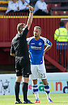 Motherwell v St Johnstone...11.08.12.Rowan Vine is sent off by ref Iain Brines.Picture by Graeme Hart..Copyright Perthshire Picture Agency.Tel: 01738 623350  Mobile: 07990 594431