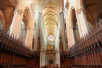 Gothic choir stalls and naive of Cathedral of Notre-Dame, Amiens, France