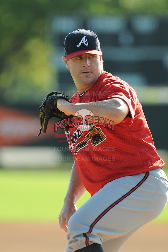 Pitcher Matt Capps (80) of the Atlanta Braves farm system in a Minor League Spring Training workout on Tuesday, March 17, 2015, at the ESPN Wide World of Sports Complex in Lake Buena Vista, Florida. (Tom Priddy/Four Seam Images)
