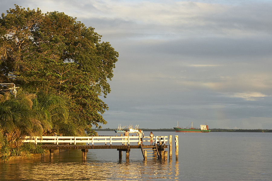 Waterfront in the capital city of Paramaribo, Suriname at sunset.