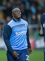 Adebayo Akinfenwa of Wycombe Wanderers warms up during the Sky Bet League 2 match between Wycombe Wanderers and Barnet at Adams Park, High Wycombe, England on 22 October 2016. Photo by Kevin Prescod.