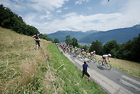 peloton (with yellow jersey Chris Froome) up the opening climb directly after the start; the Collet de Tami&eacute; (8.1km @7%)<br /> <br /> Stage 19:  Albertville &rsaquo; Saint-Gervais /Mont Blanc (146km)<br /> 103rd Tour de France 2016