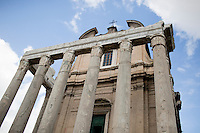 The Temple of Antoninus and Faustina is seen in the Roman Forum on Wednesday, Sept. 23, 2015, in Rome, Italy. (Photo by James Brosher)