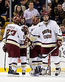 Malcolm Lyles (BC - 23), Matt Price (BC - 25), Barry Almeida (BC - 9), Carl Sneep (BC - 7) - The Boston College Eagles defeated the Harvard University Crimson 6-0 on Monday, February 1, 2010, in the first round of the 2010 Beanpot at the TD Garden in Boston, Massachusetts.