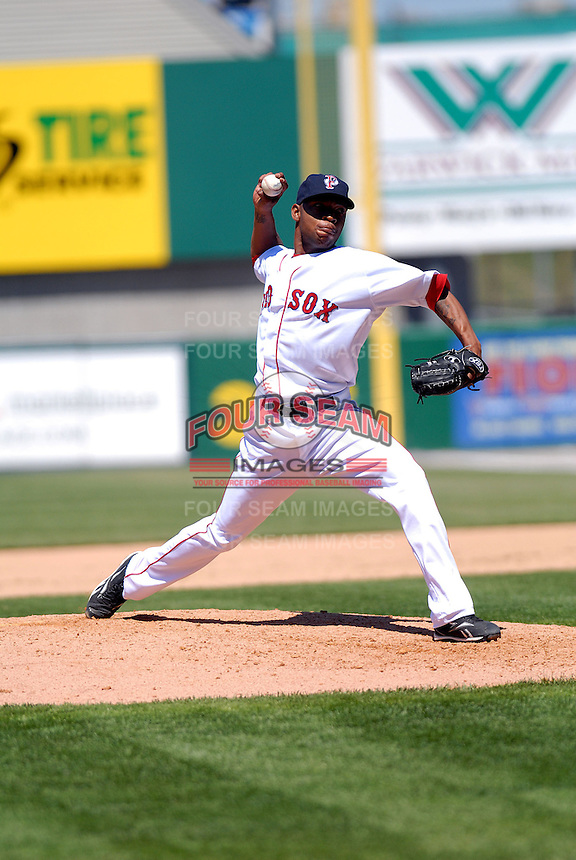 RHP Marcus McBeth of the Pawtucket Red Sox, the AAA International League affiliate of the Boston Red Sox, in action vs. the Buffalo Bisons at McCoy Stadium in Pawtucket, RI 5-19-09 (Photo by Ken Babbitt/Four Seam Images)