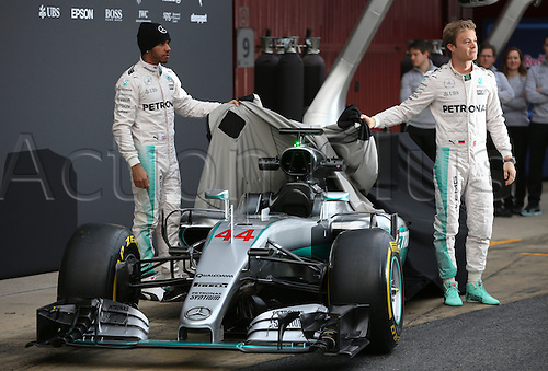 22.02.2016. Barcelona, Spain.  German Formula One driver Nico Rosberg (R) of Mercedes and British Formula One Lewis Hamilton (L) of Mercedes AMG Petronas Team pose during the launch of the new car W07 for the upcoming Formula One season at the Circuit de Barcelona - Catalunya in Barcelona, Spain.