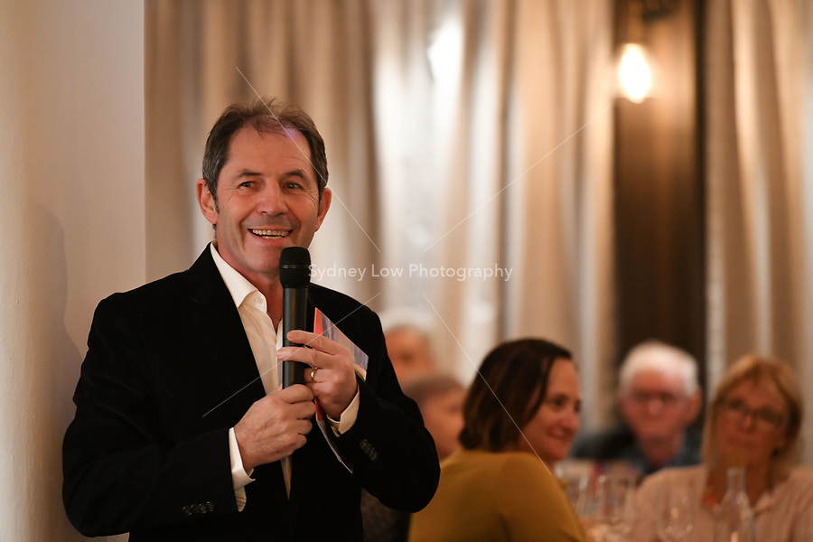 Melbourne, Australia - February 16, 2018: Gabriel Gaté speaks at a tribute dinner for Paul Bocuse by Chef Philippe Mouchel at Restaurant Philippe in Melbourne, Australia. Photo Sydney Low