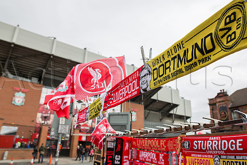 14.04.2016. Liverpool, England. Liverpool and Borussia Dortmund Football scarves with the Face of Juergen Klopp. Europe League Quarter-finals between FC Liverpool and Borussia Dortmund