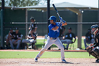 Kansas City Royals third baseman Jose Marquez (6) at bat in front of catcher Evan Skoug (27) during an Instructional League game against the Chicago White Sox at Camelback Ranch on September 25, 2018 in Glendale, Arizona. (Zachary Lucy/Four Seam Images)
