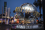 The Universal Studios Globe at the entrance to Universal Studios Hollywood and CityWalk in Los Angeles, CA