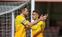 Goal scorer Paul Hayes of Wycombe Wanderers & Paris Cowan-Hall of Wycombe Wanderers celebrate the first goal cduring the Sky Bet League 2 match between Dagenham and Redbridge and Wycombe Wanderers at the London Borough of Barking and Dagenham Stadium, London, England on 9 February 2016. Photo by Andy Rowland.