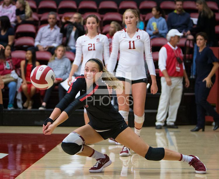 STANFORD, CA - October 12, 2018: Morgan Hentz at Maples Pavilion. No. 2 Stanford Cardinal swept No. 21 Washington State Cougars, 25-15, 30-28, 25-12.