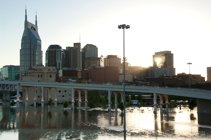 May 2010 flood of the Cumberland River in downtown Nashville, TN.