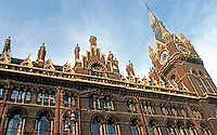 London: St. Pancras Station--Roof line and Tower.  Photo '79.