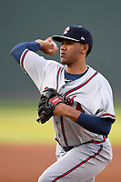 Starting pitcher Huascar Ynoa (37) of the Rome Braves delivers a pitch in a game against the Greenville Drive on Friday, April 13, 2018, at Fluor Field at the West End in Greenville, South Carolina. Rome won, 10-6. (Tom Priddy/Four Seam Images)
