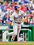 24 April 2010: Los Angeles Dodgers' outfielder Andre Ethier in action against the Washington Nationals at Nationals Park in Washington, DC. The Dodgers edged out the Nationals 4-3. Mandatory Credit: Ed Wolfstein Photo