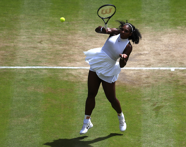Serena Williams of USA in action during her victory over Elena Vesnina of Russia in their Ladies' Singles Semi-Final match today<br /> <br /> Photographer Stephen White/CameraSport<br /> <br /> Tennis - Wimbledon Lawn Tennis Championships - Day 10 - Thursday 7th July 2016 -  All England Lawn Tennis and Croquet Club - Wimbledon - London - England<br /> <br /> World Copyright &copy; 2016 CameraSport. All rights reserved. 43 Linden Ave. Countesthorpe. Leicester. England. LE8 5PG - Tel: +44 (0) 116 277 4147 - admin@camerasport.com - www.camerasport.com