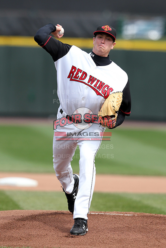 Rochester Red Wings starting pitcher Kyle Gibson #44 delivers a pitch during the second game of a double header against the Lehigh Valley Ironpigs at Frontier Field on April 14, 2011 in Rochester, New York.  Lehigh Valley defeated Rochester 5-3 in extra innings.  Photo By Mike Janes/Four Seam Images