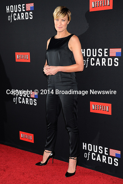 Pictured: Robin Wright<br /> Mandatory Credit &copy; Gilbert Flores/Broadimage<br /> Netflex's &quot;House of Cards&quot; Season 2 Special Screening<br /> <br /> 2/13/14, Hollywood, California, United States of America<br /> <br /> Broadimage Newswire<br /> Los Angeles 1+  (310) 301-1027<br /> New York      1+  (646) 827-9134<br /> sales@broadimage.com<br /> http://www.broadimage.com