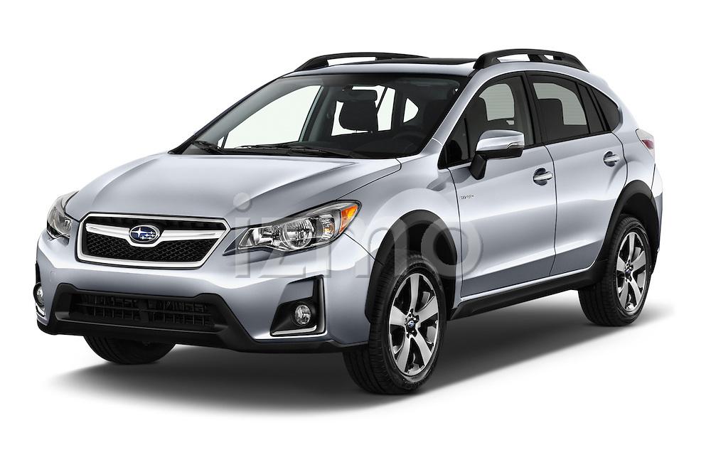 2016 Subaru Crosstrek Hybrid-Touring 5 Door SUV Angular Front stock photos of front three quarter view