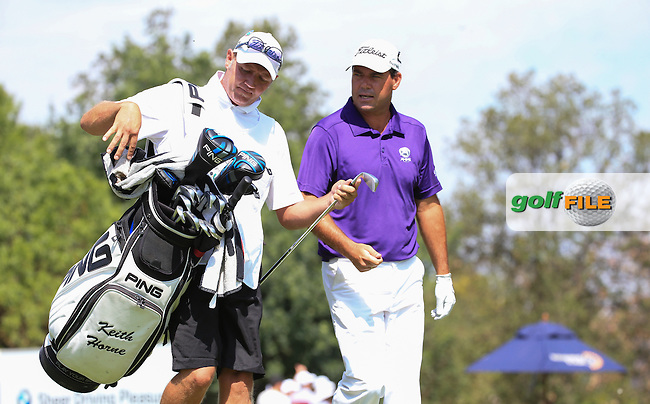 Keith Horne (RSA) and caddie head down the 17th during Round Two of the 2016 BMW SA Open hosted by City of Ekurhuleni, played at the Glendower Golf Club, Gauteng, Johannesburg, South Africa.  08/01/2016. Picture: Golffile | David Lloyd<br /> <br /> All photos usage must carry mandatory copyright credit (&copy; Golffile | David Lloyd)