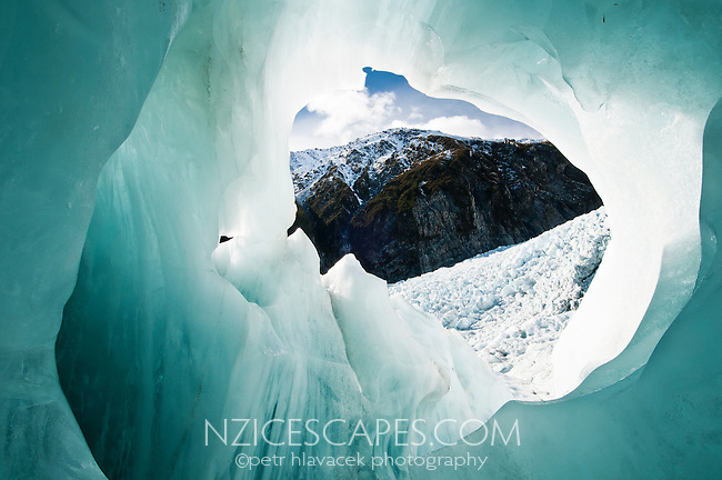 Fantastic colours, shapes and patterns of the ice cave on Franz Josef Glacier - Westland National Park, West Coast, New Zealand