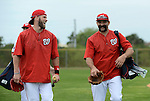 VIERA, FL-  FEBRUARY 26:  Bryce Harper and Danny Espinosa of the Washington Nationals exit the field during the Washington Nationals Spring Training at Space Coast Stadium in Viera, FL (Photo by Donald Miralle) *** Local Caption ***