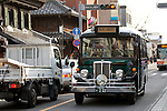 "February 14, 2013, Kawagoe, Japan - The ""Koedo Loop Bus"" brings the tourist around the all famous places. An old town from Edo Period (1603-1867) is located in Kawagoe, 30 minutes by train from central Tokyo. In the past Kawagoe was an important city for trade and strategic purpose, the shogun installed some of their most important loyal men as lords of Kawagoe Castle. Every year ""Kawagoe Festival"" is held in the third weekend of October, people pull portable shrine during the parade, later ""dashi"" floats on the streets nearby. The festival started 360 years ago supported by Nobutsuna Matsudaira, lord of Kawagoe Castle. (Photo by Rodrigo Reyes Marin/AFLO).."
